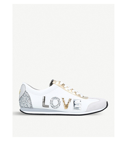 MICHAEL MICHAEL KORS Kaile glitter-detail leather trainers (White/red
