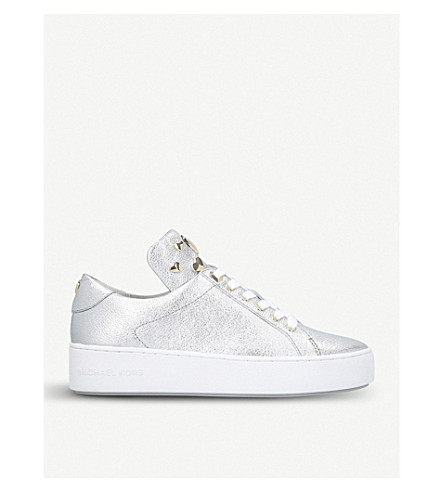 MICHAEL MICHAEL KORS Mindy studded metallic high-top leather trainers (Silver