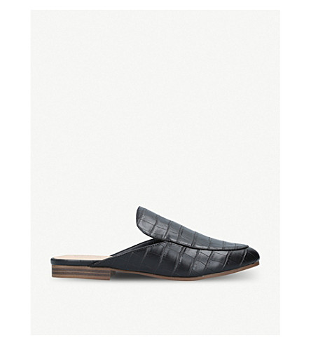 Malin crocodile-embossed faux-leather backless loafers
