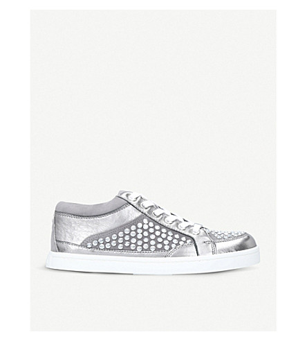 CARVELA Limelight metallic studded leather trainers (Grey