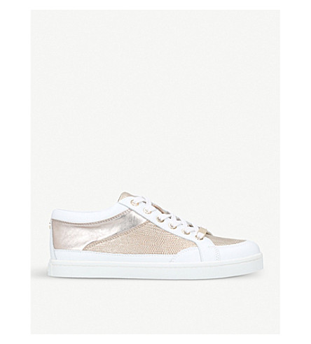 CARVELA Legacy snake-embossed metallic leather trainers (White
