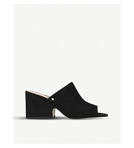 SAM EDELMAN Rheta block-heel suede mules Black Cheap Sale Affordable fHR5L1
