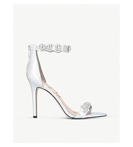 SAM EDELMAN Addison metallic-leather heeled sandals (Silver
