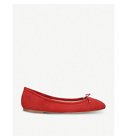 SAM EDELMAN Felicia bow-detail suede ballet flats (Red