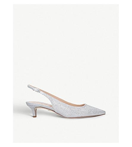 SAM EDELMAN Ludlow metallic-mesh slingback kitten heels (Silver