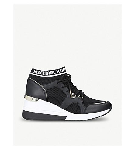 MICHAEL MICHAEL KORS Hilda leather wedge heel trainers (Black