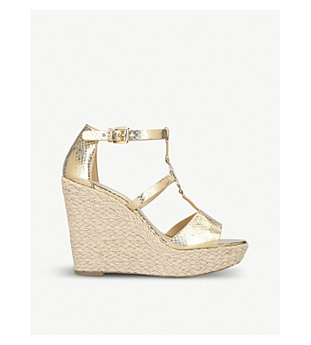 MICHAEL MICHAEL KORS Beth leather logo wedges (Gold