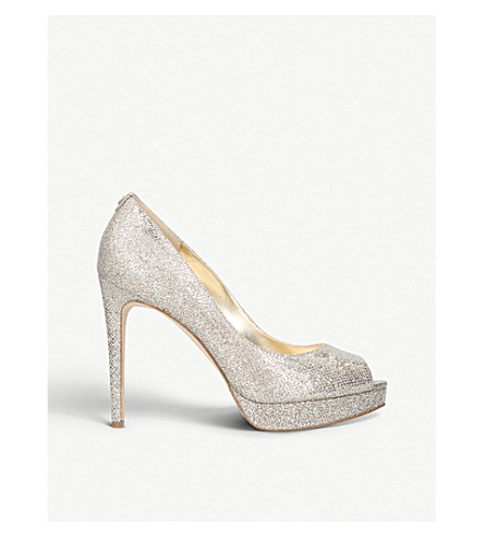MICHAEL MICHAEL KORS Erika glitter platform heels (Silver+com