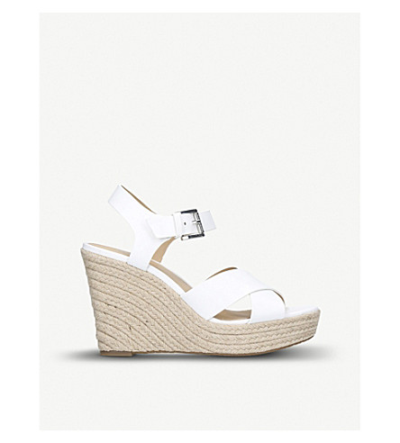 MICHAEL MICHAEL KORS Kady strappy leather wedges (White
