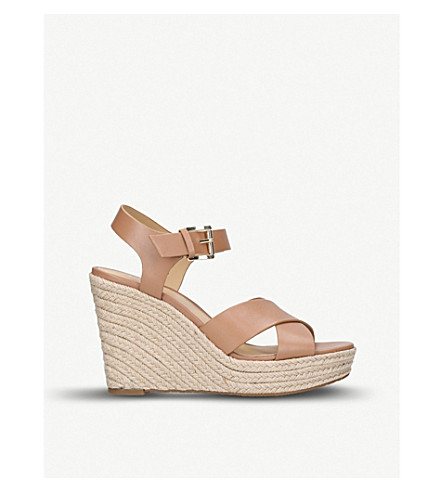 MICHAEL MICHAEL KORS Kady strappy leather wedges (Tan