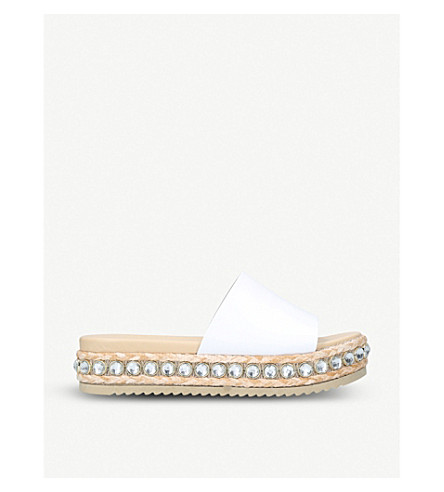 CARVELA Kandle embellished leather sliders (White