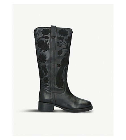 KG KURT GEIGER WINNIE LEATHER AND SUEDE BOOTS