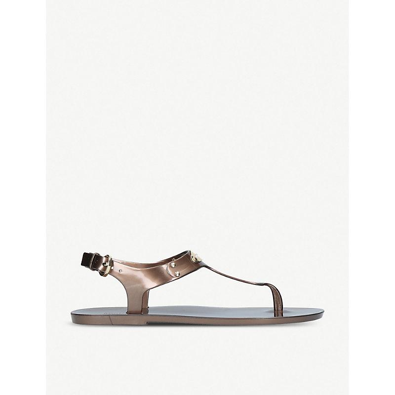 Metallic jelly sandals