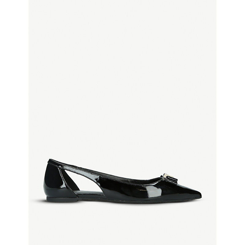Carlson cut-out patent-leather ballerina flats