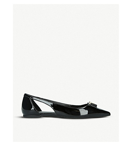 MICHAEL MICHAEL KORS Carlson cut-out patent-leather ballerina flats (Black