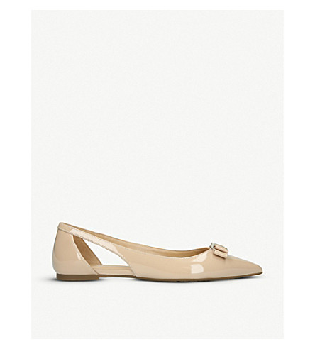 MICHAEL MICHAEL KORS Carlson cut-out patent-leather ballerina flats (Pale+pink