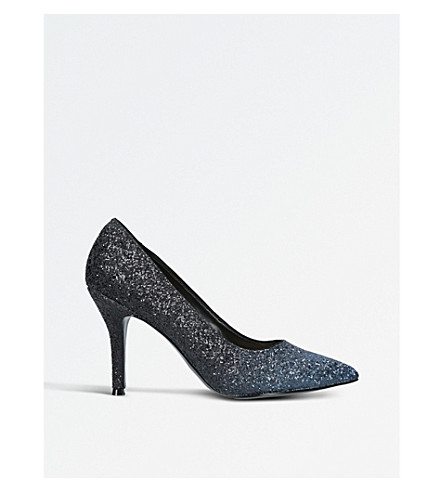 NINE WEST Flax glitter-ombré heeled courts (Navy