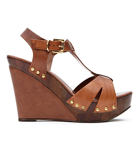 CARVELA Kate leather wedge sandals (Tan