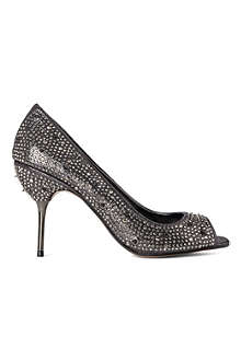 CARVELA Genny gem-embellished satin-effect courts