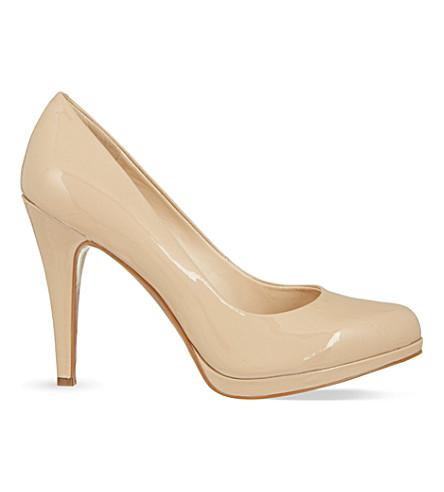 NINE WEST Rocha patent-leather platform court shoes (Nude