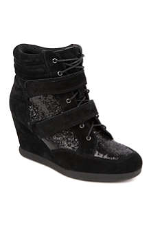 CARVELA Sparkle suede wedge trainers