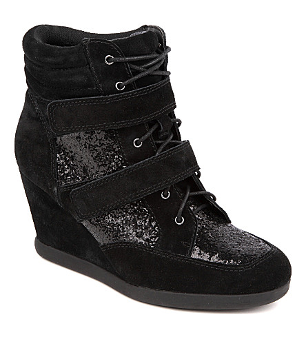CARVELA Sparkle suede wedge trainers (Black