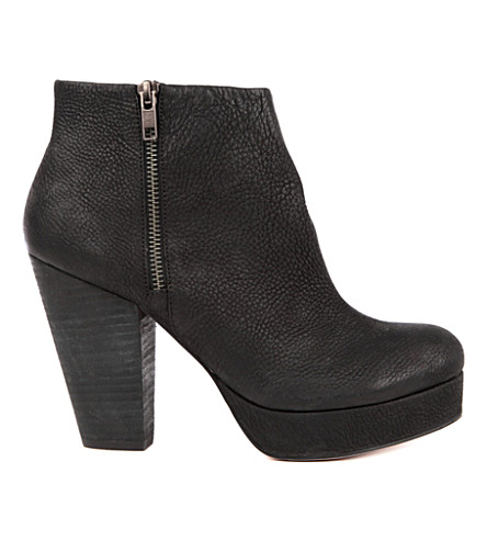 KG KURT GEIGER Vera pebbled-leather ankle boots (Black