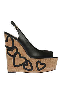 KG BY KURT GEIGER Nuovo black leather wedges