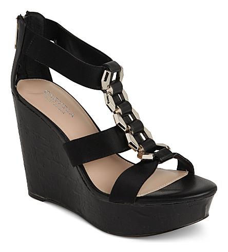 CARVELA Keira grosgrain wedge sandals (Black