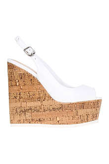 CARVELA Kabbalah cork and patent leather wedges