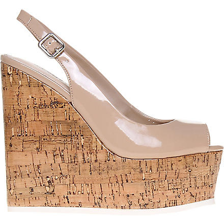 CARVELA Kabbalah cork and patent leather wedges (Nude
