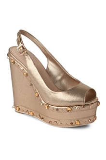 CARVELA Gismo metallic leather wedge sandals