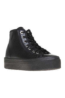 KG BY KURT GEIGER Lava leather and fabric high-top trainers