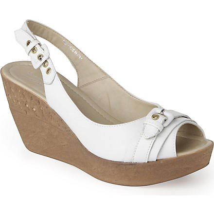 CARVELA Kaitlin leather wedge sandals (White