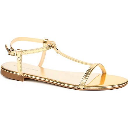 KG KURT GEIGER Match faux-leather metallic sandals (Gold