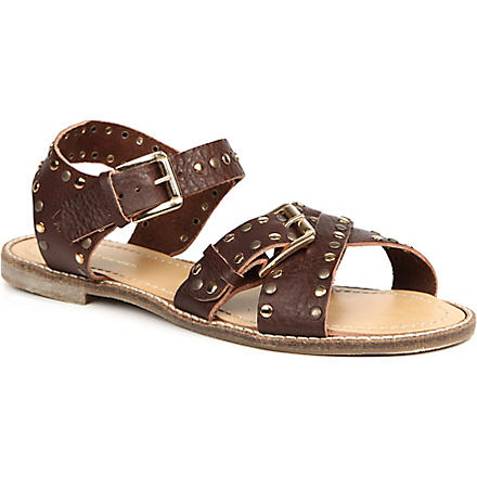 KG KURT GEIGER Marcella leather studded sandals (Brown