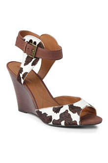NINE WEST MissCharm leather wedge sandals