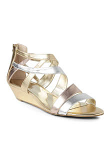 NINE WEST Vocals metallic wedge sandals