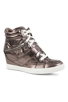 CARVELA Larry metallic leather wedge trainers