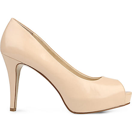 NINE WEST Camya peep-toe leather courts (Nude