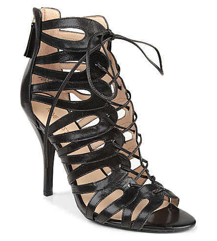 NINE WEST Kenie leather cage sandals (Black