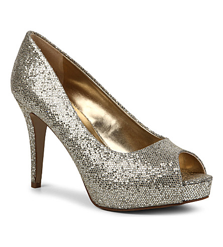 NINE WEST Camya sequin-embellished courts (Champagne