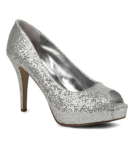 NINE WEST Camya sequin-embellished courts (Silver