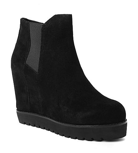 KG KURT GEIGER Sonar suede wedge ankle boots (Black