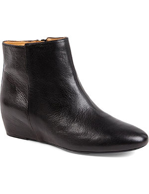 NINE WEST Metalina leather wedge ankle boots