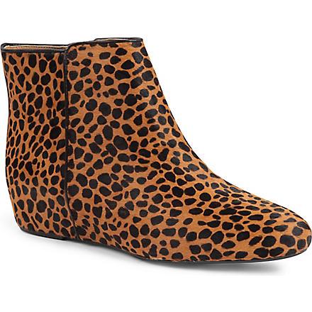 NINE WEST Metalina ponyskin wedge ankle boots (Dk.brn com