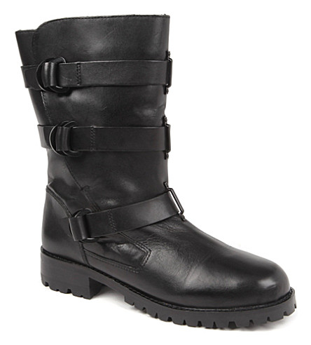 KG KURT GEIGER Scandi leather biker boots (Black