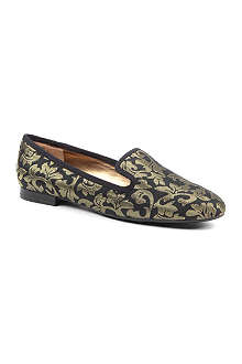 NINE WEST Lavalu gold jacquard loafers