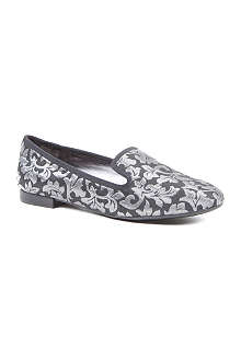 NINE WEST Lavalu silver jacquard loafers