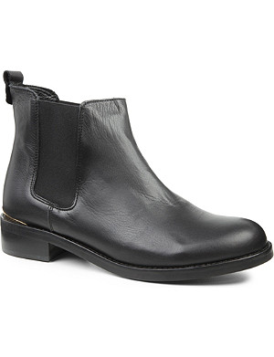 KG KURT GEIGER Short leather metallic-accent Chelsea boots